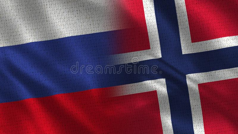 Rosja i Norwegia tkaniny tekstura - Dwa flaga Wpólnie - obrazy royalty free