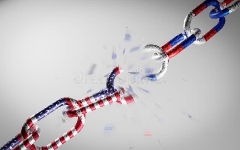 Rosja i Stany Zjednoczone Ameryki jako łańcuch metalowy konflikt, pokaz konfrontacji politycznej 3d royalty ilustracja