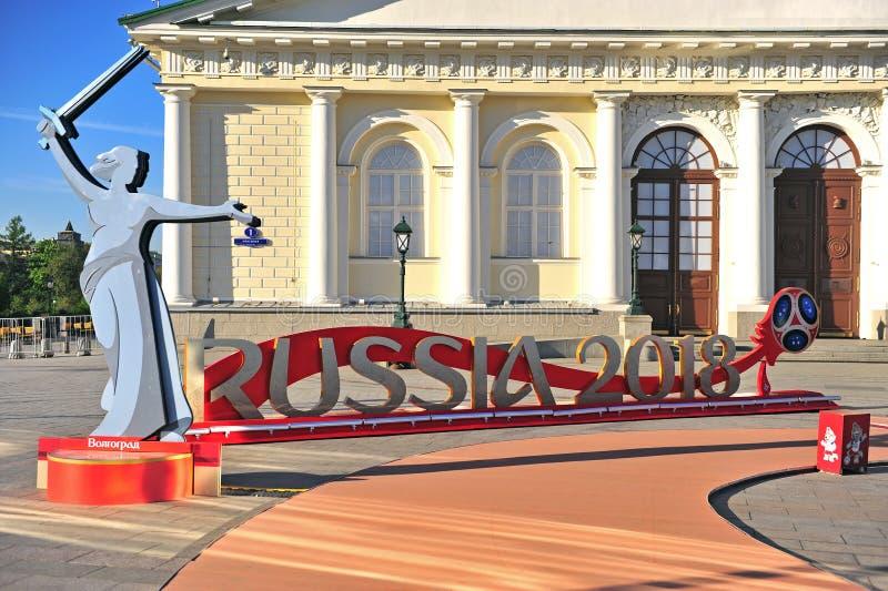 Rosja 2018 i Volgograd znak na Manege kwadracie, Moskwa zdjęcie royalty free