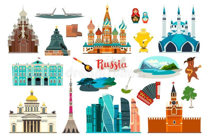 Rosja ikony ustawiać, płaska kreskówka stylu ikona Rosyjski symbol ilustracji