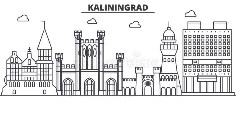 Rosja, Kaliningrad architektury linii linii horyzontu ilustracja Liniowy wektorowy pejzaż miejski z sławnymi punktami zwrotnymi,  royalty ilustracja