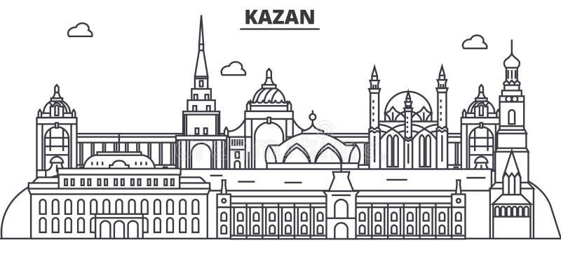 Rosja, Kazan architektury linii linii horyzontu ilustracja Liniowy wektorowy pejzaż miejski z sławnymi punktami zwrotnymi, miasto ilustracja wektor