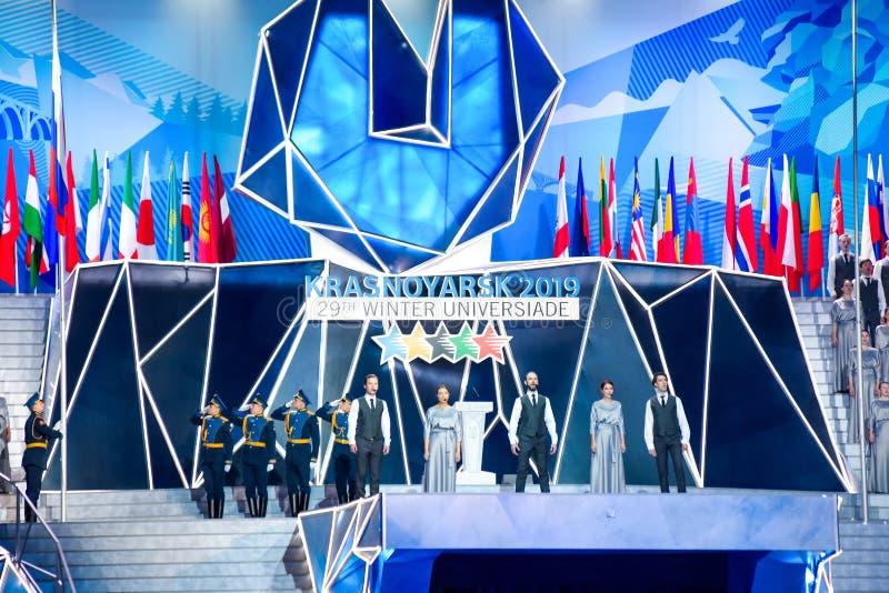 02 03 2019 Rosja krasnoyarsk Ceremonia otwarcia Universiade 2019 zdjęcia royalty free