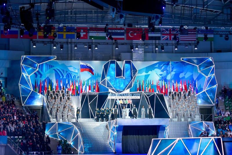 02 03 2019 Rosja krasnoyarsk Ceremonia otwarcia Universiade 2019 zdjęcia stock