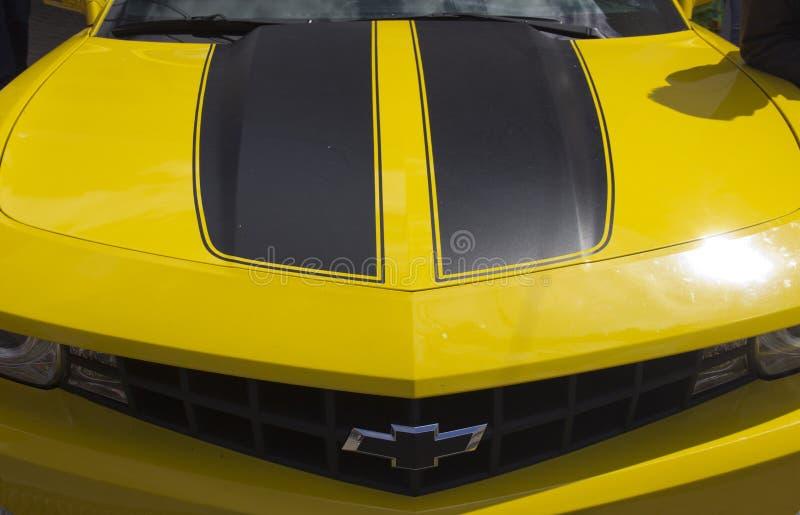 Rosja, Krasnoyarsk, Czerwiec 2019: kapiszon samochodowy logo Chevrolet Camaro fotografia royalty free