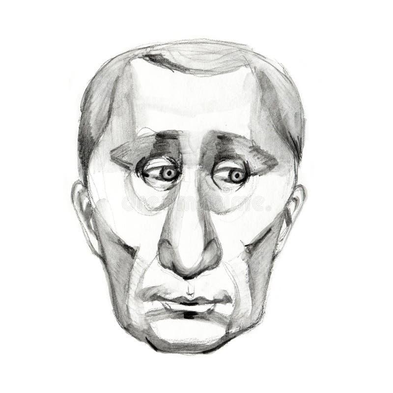 ROSJA, Kwiecień 1, 2019: Karykatura Rosyjski prezydent Vladimir Putin szczotkarski w?giel drzewny rysunek rysuj?cy r?ki ilustracy royalty ilustracja