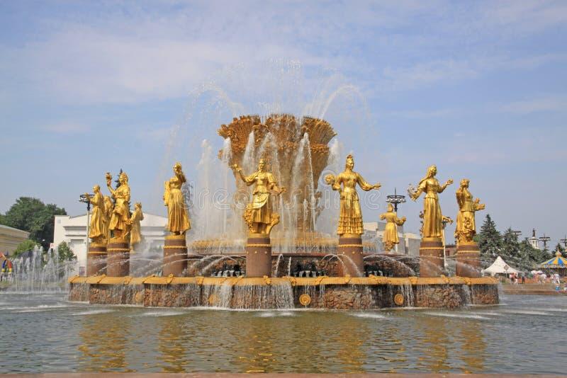 Rosja moscow Fontanny ` przyjaźń zaludnia ` w wystawie osiągnięcia narodowa gospodarka obrazy stock