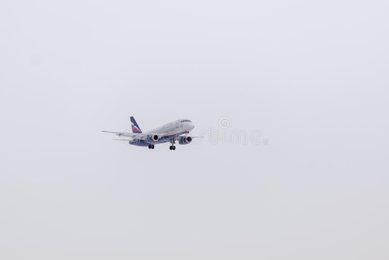 ROSJA MOSKWA, Marzec, - 10, 2019: Płaski desantowy samolotu Sheremetyevo lotnisko międzynarodowe obrazy royalty free
