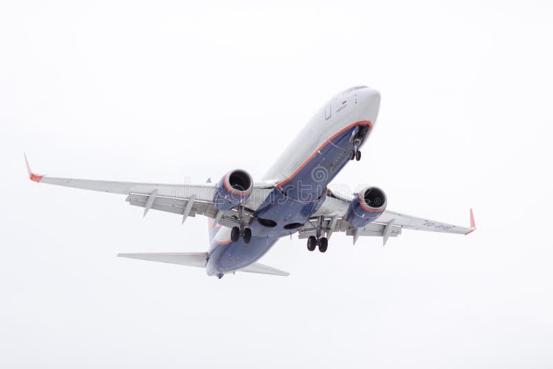 ROSJA MOSKWA, Marzec, - 10, 2019: Płaski desantowy samolotu Sheremetyevo lotnisko międzynarodowe zdjęcie royalty free