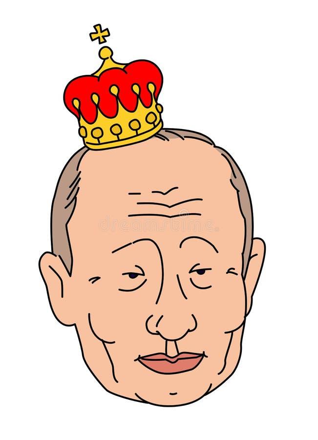 ROSJA MOSKWA, STYCZEŃ, - 28, 2019: Karykatura prezydent federacja rosyjska Vladimir Putin w cesarskiej koronie ilustracji
