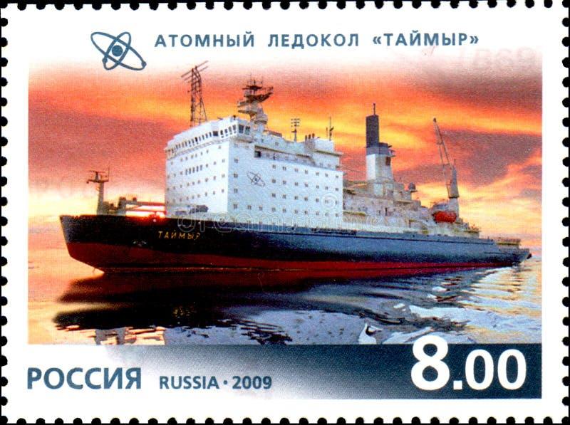 ROSJA - OKOŁO 2009: Znaczek drukujący w Rosja, przedstawienie Jądrowy lodołamacz obraz stock