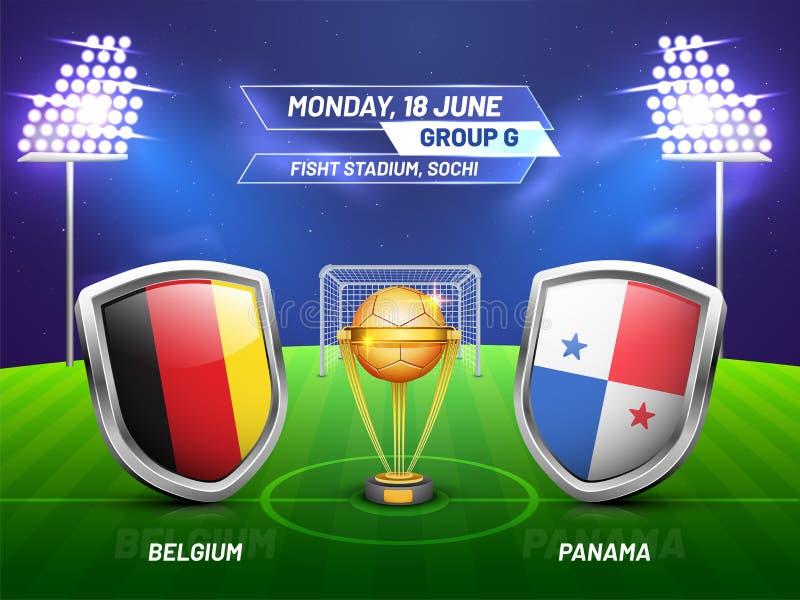 Rosja 2018, piłki nożnej mistrzostwa liga, dopasowanie między Belgia v royalty ilustracja