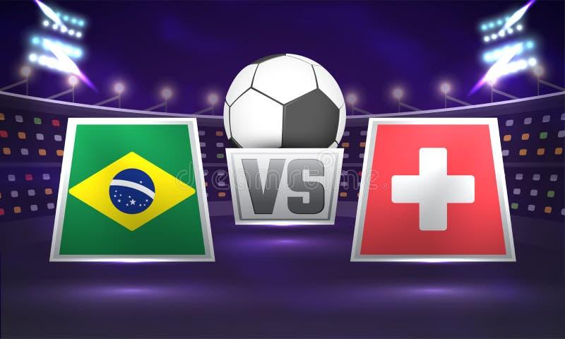 Rosja 2018, piłki nożnej mistrzostwa liga, dopasowanie między Brazylia V ilustracja wektor