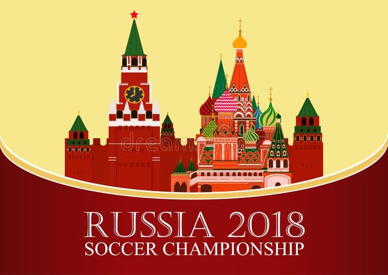 Rosja 2018 pucharów świata Futbolowy sztandar Wektorowa płaska ilustracja sport Wizerunek Kremlin i St basilu ` s katedra royalty ilustracja