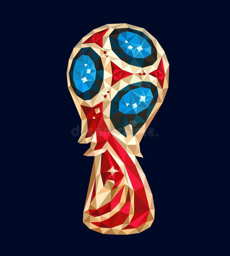 Rosja 2018 pucharów świata piłki nożnej trofeum futbolowy logo odizolowywał Russia rywalizaci turniej ilustracja wektor