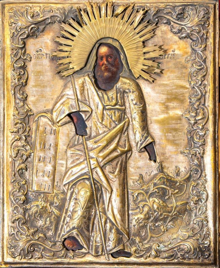 Rosja, Ryazan 1 2019 Feb - Stara ortodoksyjna ikona xix wiek na drewnianej kanwie obraz stock