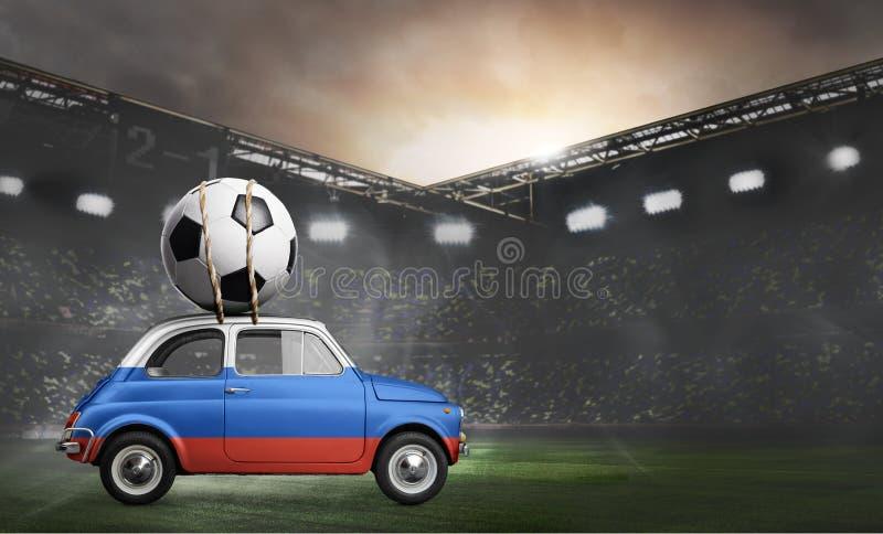 Rosja, samochód na stadionie futbolowym fotografia stock