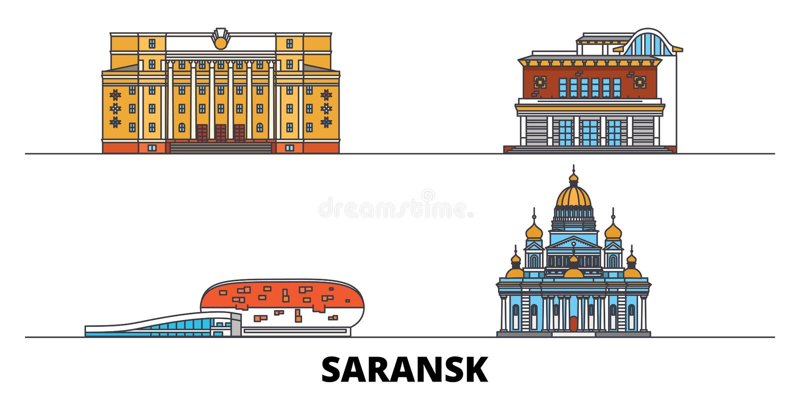 Rosja, Saransk płaska punktu zwrotnego wektoru ilustracja Rosja, Saransk kreskowy miasto z sławnymi podróż widokami, linia horyzo ilustracja wektor