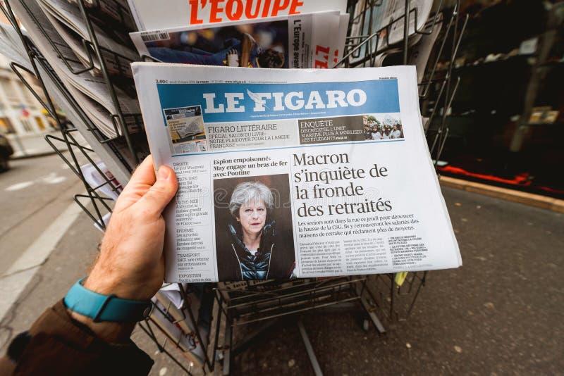 Rosja szpieguje skandal, Theresa Maj celów rosjanie z fala sa obraz stock