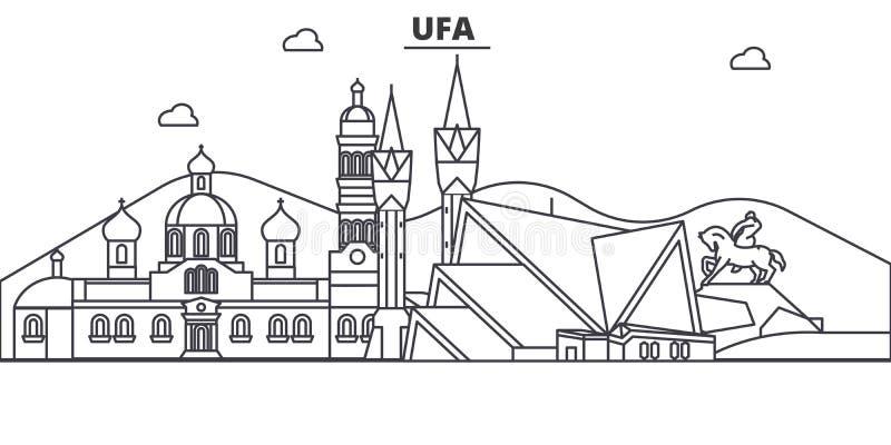 Rosja, Ufa architektury linii linii horyzontu ilustracja Liniowy wektorowy pejzaż miejski z sławnymi punktami zwrotnymi, miasto w ilustracja wektor