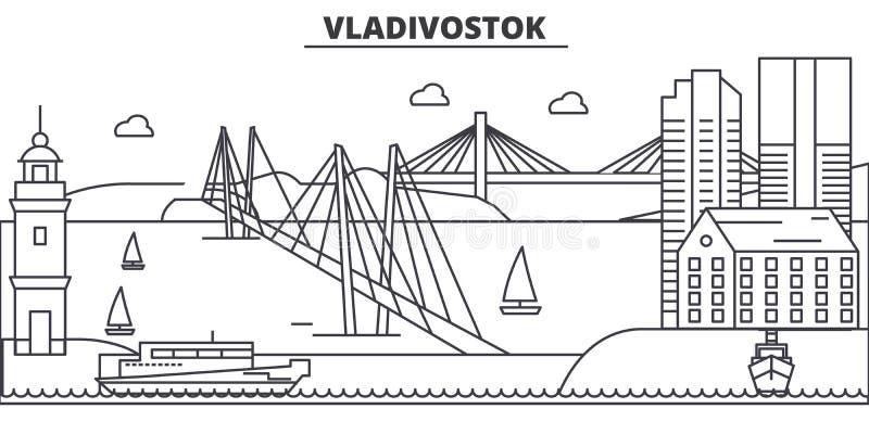 Rosja, Vladivostok architektury linii linii horyzontu ilustracja Liniowy wektorowy pejzaż miejski z sławnymi punktami zwrotnymi,  ilustracji