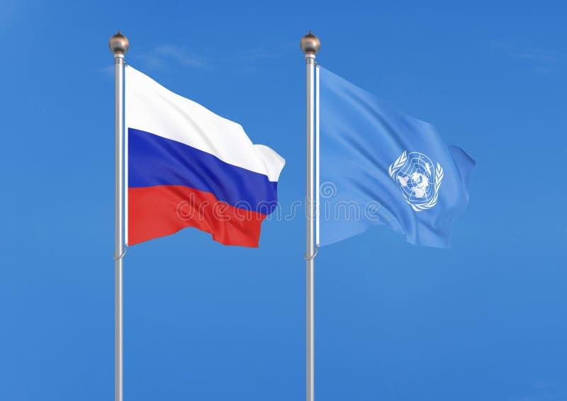 Rosja vs Narody Zjednoczone organizacja Gęste barwione silky flagi Rosja i Narody Zjednoczone organizacja 3D ilustracja na niebie ilustracji