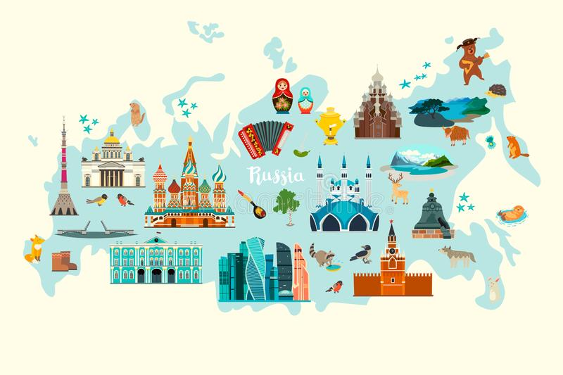 Rosja wektorowa mapa, colorfull ilustracja Rosyjski punktu zwrotnego plakat ilustracja wektor