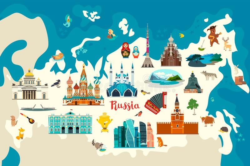 Rosja wektorowa mapa Dziecko kolorowy plakat royalty ilustracja