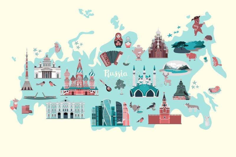Rosja wektorowa mapa Kolorowy atlant z rosyjskimi punktami zwrotnymi ilustracja wektor