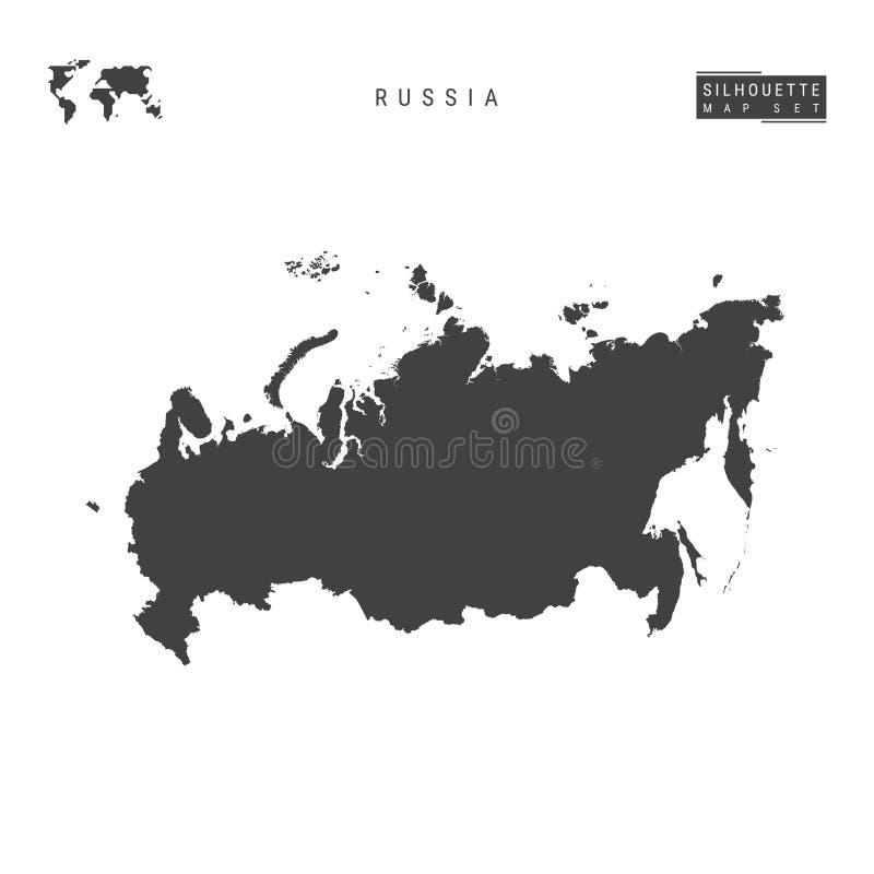 Rosja Wektorowa mapa Odizolowywająca na Białym tle wyszczególniająca Czarna sylwetki mapa Rosja ilustracja wektor
