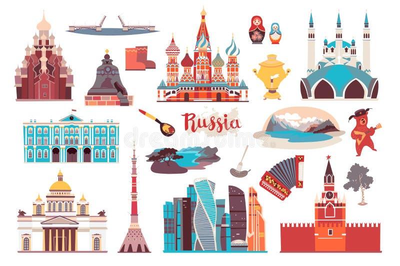Rosja wektorowi punkty zwrotni, odizolowywający na białym tle ilustracji
