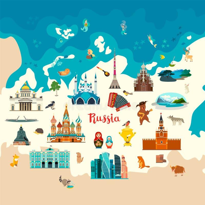 Rosja wektorowy atlant, kolorowa ilustracja royalty ilustracja