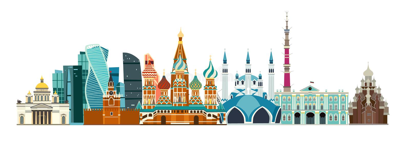 Rosja wyszczególniał panoramiczną uliczną wektorową sztukę Kreskówki mieszkania styl ilustracji