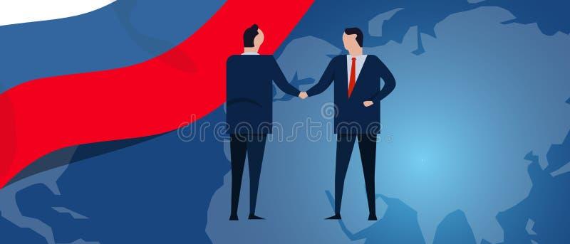 Rosja zawody międzynarodowi partnerstwo Dyplomaci negocjacja Biznesowego związku zgody uścisk dłoni Kraj mapa i flaga royalty ilustracja