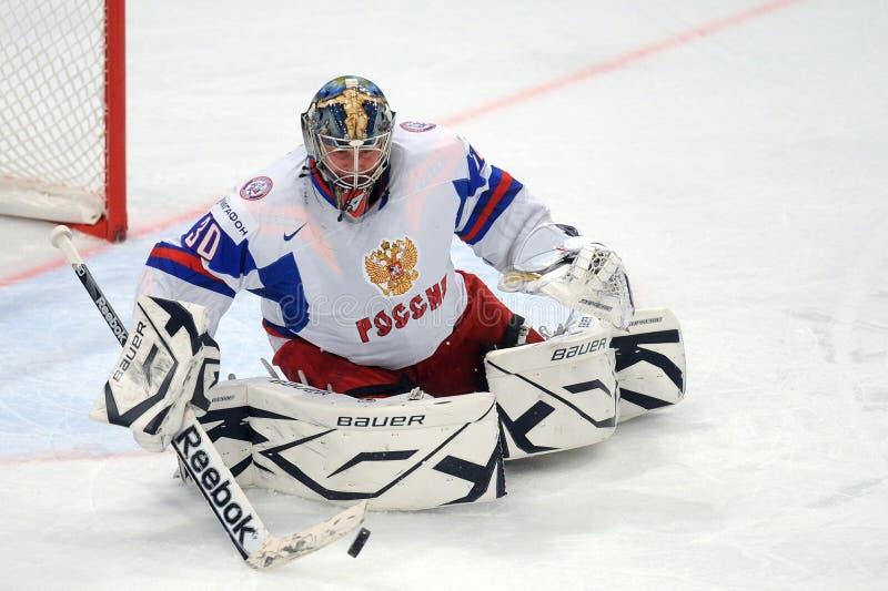 Rosjanin drużyny hokejowej lodowy bramkarz fotografia stock