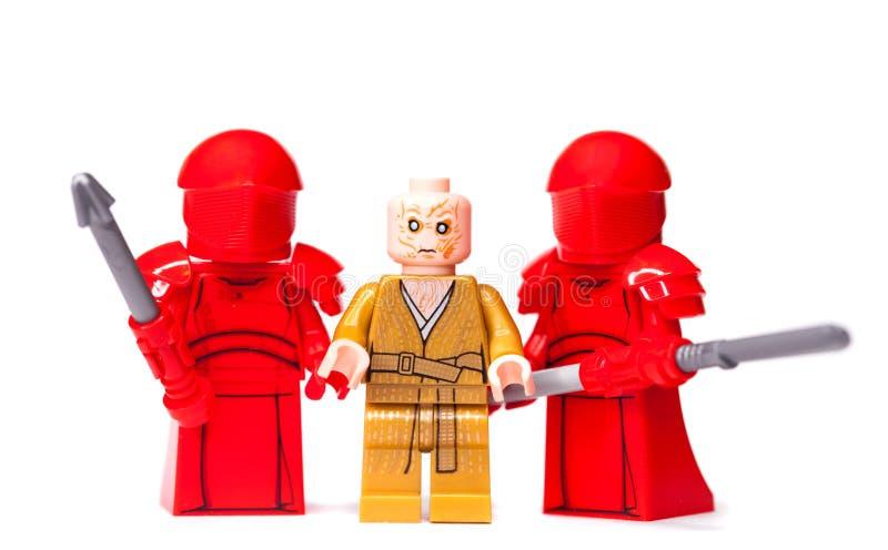 ROSJANIN, SAMARA, STYCZEŃ 16, 2019 konstruktor Lego Star Wars Najwyższy lider Pierwszy rozkaz Snoke obrazy royalty free