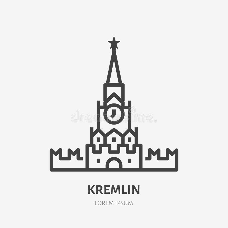 Rosjanina mieszkania linii Kremlowska ikona Wektoru cienki znak Moskwa, plac czerwony Rosja punktu zwrotnego konturu ilustracja ilustracja wektor