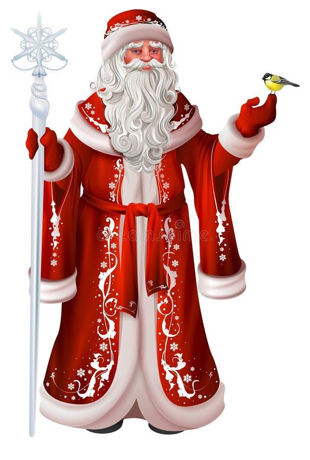 Rosjanina Santa Claus chwyty personel i tit Bożenarodzeniowy krajowy retro odzieżowy Russia ilustracji