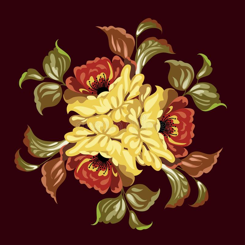 Rosjanina Zhostovo obraz, rosjanin stylowa dekoracja i projekta element, ilustracja wektor
