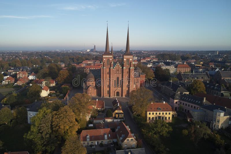 Roskilde cathedral of kings. And Roskilde city located in Denmark stock image