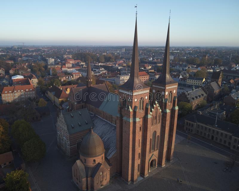Roskilde cathedral of kings. And Roskilde city located in Denmark royalty free stock photo