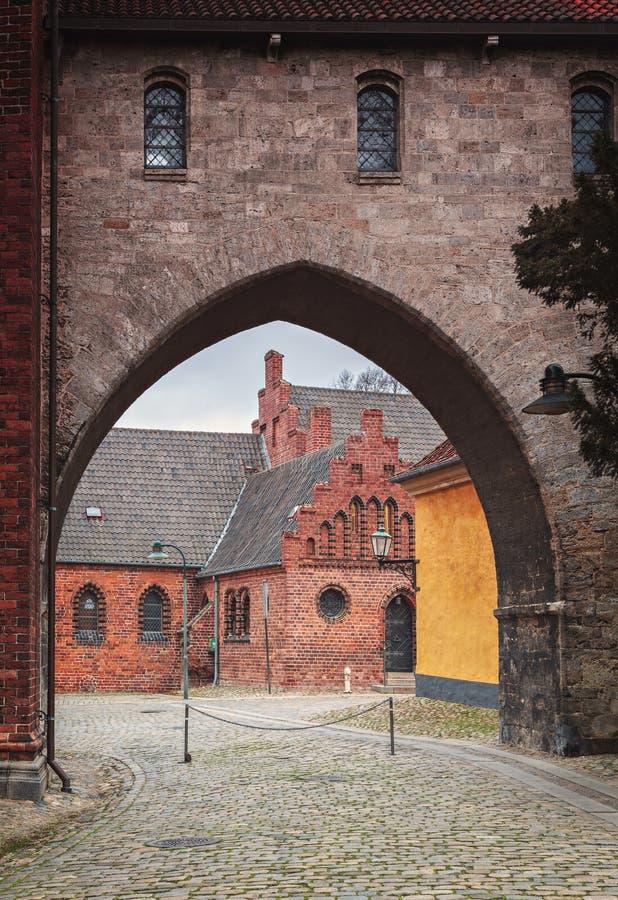 Roskilde city Denmark. Architectural details in the historic city of Roskilde, Denmark stock images