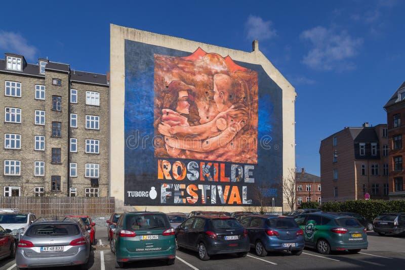 Roskilde festiwalu graffiti malowidło ścienne w Kopenhaga, Dani obraz royalty free