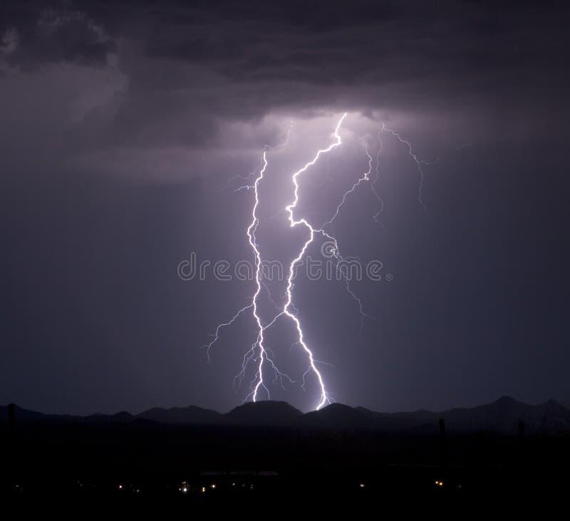 Roskruge Mountain Lightning stock photos