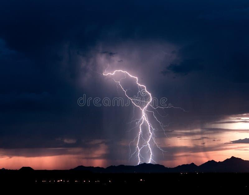 Roskruge Sunset Lightning 2 stock image