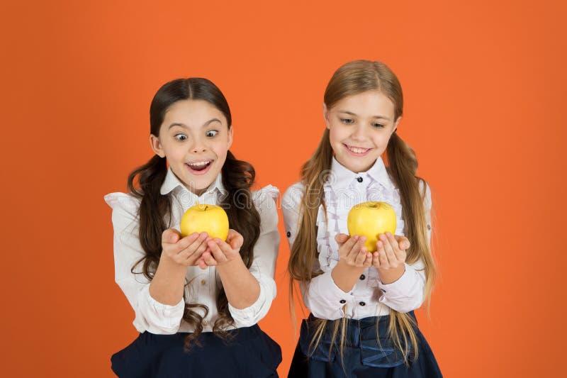 Rosnąć w zdrowie Dzieci w wieku szkolnym z zdrową jabłczaną przekąską Małe dziewczynki bierze szkolną przekąskę Mały dziewczyn je fotografia stock
