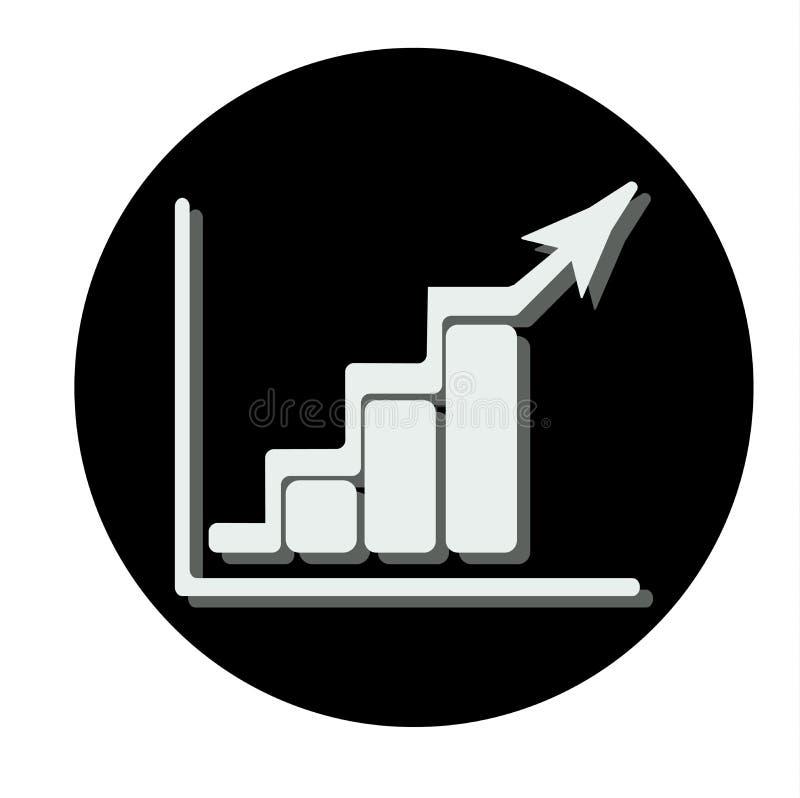 Rosnąć bar graficzną ikonę z powstającą strzała Czarny okrąg ilustracja wektor