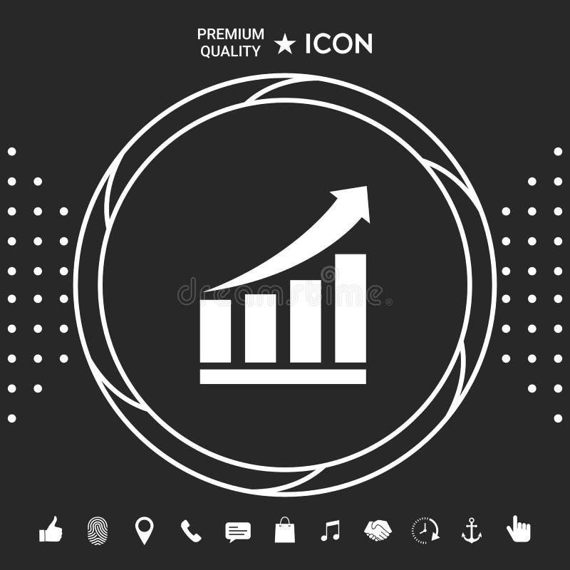 Rosnąć bar graficzną ikonę z powstającą strzała Graficzni elementy dla twój designt royalty ilustracja