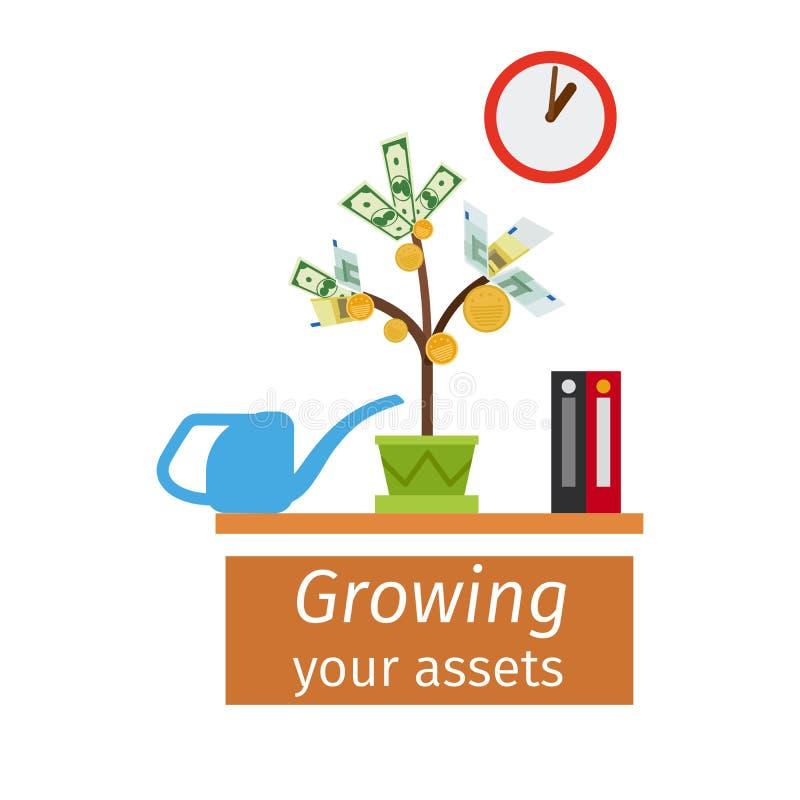 Rosnąć twój wartość biznesu pojęcie royalty ilustracja