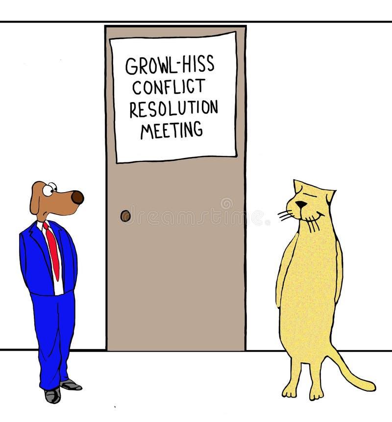 Rosnado - reunião do conflito do silvo ilustração stock
